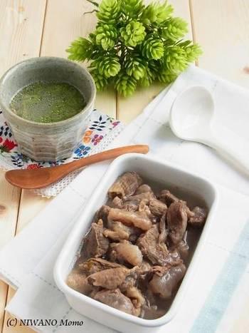 牛すじ肉は冷凍保存もできます。茹で汁を冷まして固まった油を取り除きビーフストックとしても◎