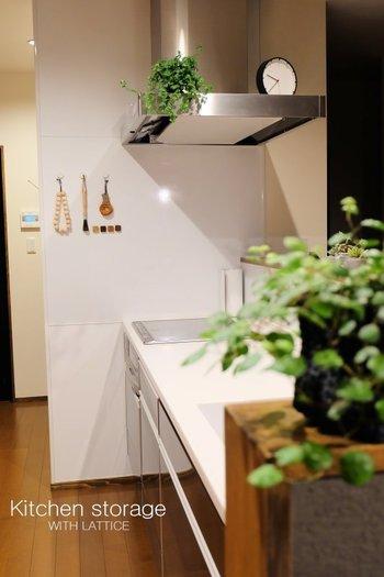 生活感のでるアイテムをしまい、まるでモデルハウスのような美しいキッチン。でもキッチンには、細々としたものがたくさん。それらをどのように収納しているのでしょうか?