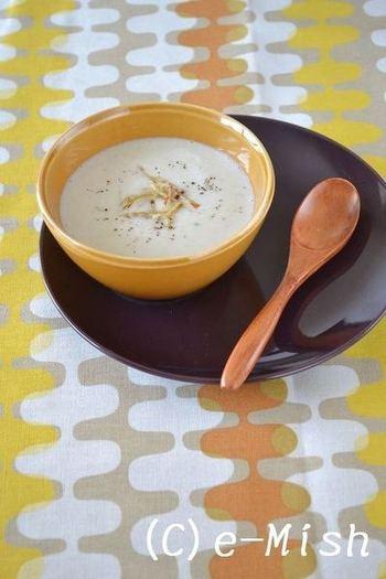 ごぼうを使ったポタージュです。食物繊維も豊富なスープで体の芯から温まりましょう♪