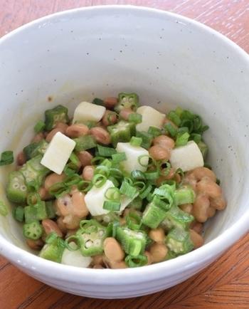長芋、オクラ、納豆のネバネバした3食品を合わせたレシピです。野菜が苦手な方でも食べやすい料理です。「野菜を摂らなきゃいけないけど続かない」という方には特におすすめです!