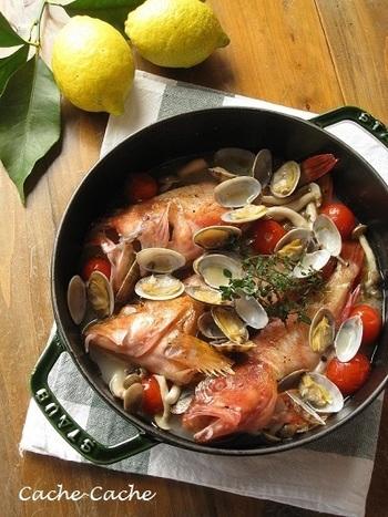 アラカブとは「カサゴ」の九州・有明海エリアでの呼び名。 食材のうまみをくまなく行き渡らせるストウブで作ったアクアパッツァには定評が♪うまみを堪能した後は、コンキリエ(貝のカタチのショートパスタ)を入れて楽しみましょう。