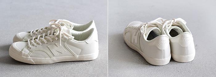 爽やかで清潔感のある白いスニーカー。ソールや靴ひもまで真っ白に統一されたデザインは、オフィススタイルに自然に馴染みます。すっきり細身シルエットもきちんと感を後押しします。
