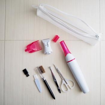 さらに小さな細身の歯ブラシポーチ。こちらもメッシュ素材です。 小ぶりながら衛生用品がたっぷり収まります。