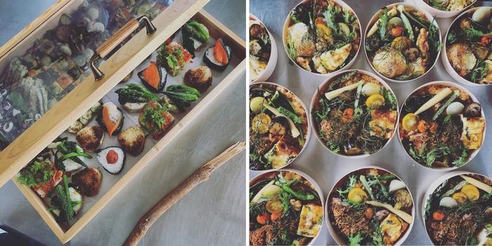 細川さんの作るおにぎりとお弁当。いろどりの鮮やかさ、そして何より美味しそうな見た目に釘付けになります。ふたを開けた時に驚いてほしい、喜んでほしい…そんな想いが詰まった木箱です。