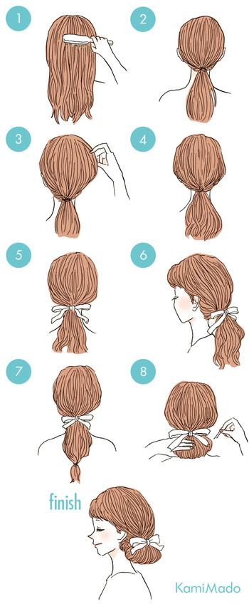 ①ひとつ結びにしたら、トップや根元付近の髪を少しずつ引き出して崩します。 ②結び目に一度リボンを結んだら毛先部分をゴムでしばり、くるくるっと内側にまるめてピンで固定すれば大人シニヨンヘアの完成♪