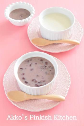 寒天には、水溶性食物繊維と不溶性食物繊維が両方含まれています。小豆でさらに食物繊維をおぎなって、バランスがいいデザートレシピです。  ほっとするやさしい甘さで、ヘルシー。食物繊維も摂れると分かれば、毎日でも、積極的に食べたいですね。