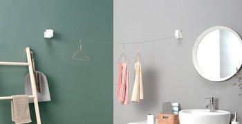 本体の付け外しとロープの固定がワンタッチで簡単に出来るため、使いたい時に取り付け、使わない時にはさっと外してしまっておくことができます。 取り外した後も、壁に残るものはレールのみなので、壁面をスッキリみせることができます。