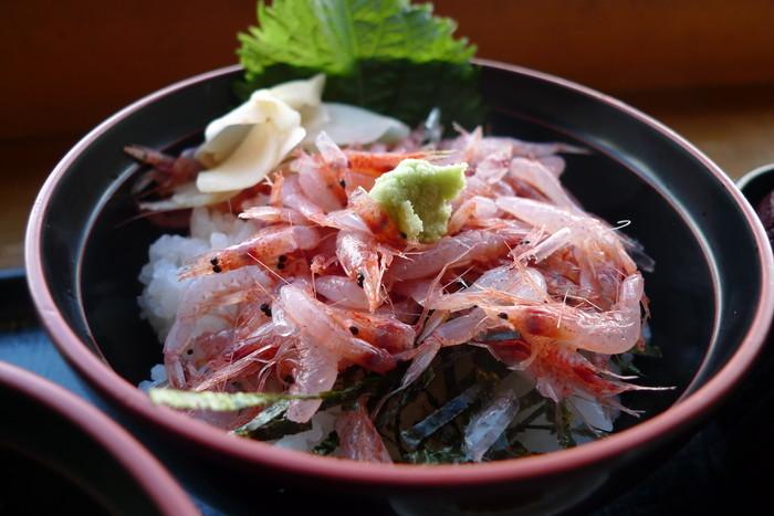 """""""桜えび""""は、全国的に良く知られる甲殻類の一つですが、獲れるのは、ここ静岡の駿河湾のみ。新鮮な桜えびは、プチプチとした食感で甘みが抜群。アレルギーがなければ、ぜひチョイスしたい丼です。"""
