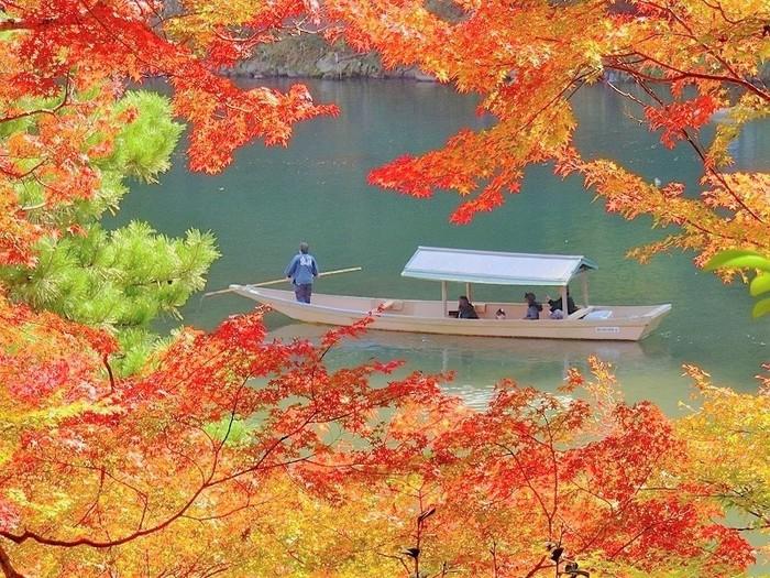 保津川下りは、亀岡から嵐山へ保津川を下り、渡月橋の近くに着きます。途中流れが早いところはスリリングな楽しさもあります。船頭さんの巧みな竿さばきも見所。