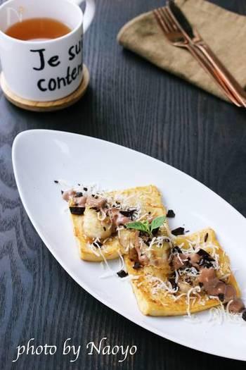水分を吸いやすい高野豆腐はフレンチトーストにもうってつけ。高野豆腐とは思えない、美味しいお手軽おやつとして密かに人気です。フレンチトーストの他にも、クロックムッシュにするのもおすすめですよ♪