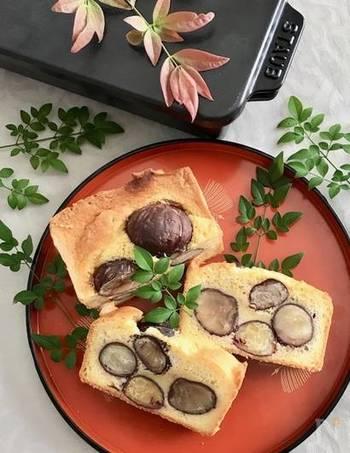 栗の渋皮煮を使ったパウンドケーキ。 バターとアーモンドパウダーたっぷりで、コクのある仕上がりに!素敵に盛り付ければ、おもてなしシーンにも喜ばれそう!