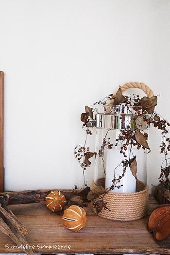 夏にはみずみずしいグリーンの葉と実をたくわえ、涼しげに伸びていたヘクソカズラは、ドライフラワーにすると縮んだ蔦や乾いた実を垂らす姿に独特の趣が生まれます。季節のインテリアを飾るスペースにちょっと添えておくだけでも、グッと秋らしさを感じさせてくれますね。