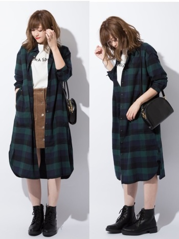 長袖チェックのフランネルシャツワンピースも秋に重宝するアイテム。タイトスカート+Tシャツの上からコートのように羽織って活用できます。