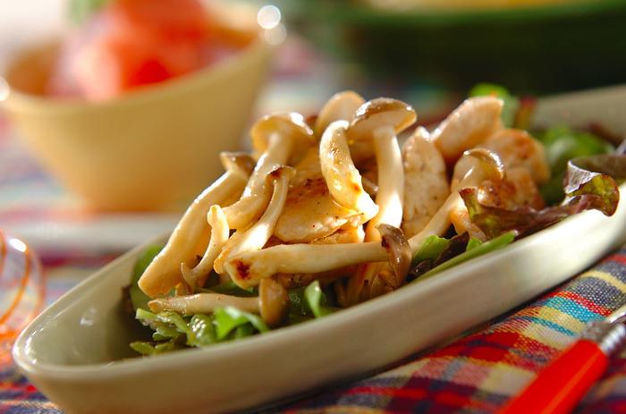 鶏むね肉をサラダにすると、ボリュームたっぷりのおかずになります。鶏むねをこんがり焼いて、きのこや野菜と一緒にドレッシングで和えれば完成です。