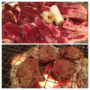『エゾシカセット』。生肉とこんがり焼けたお肉の様子♪