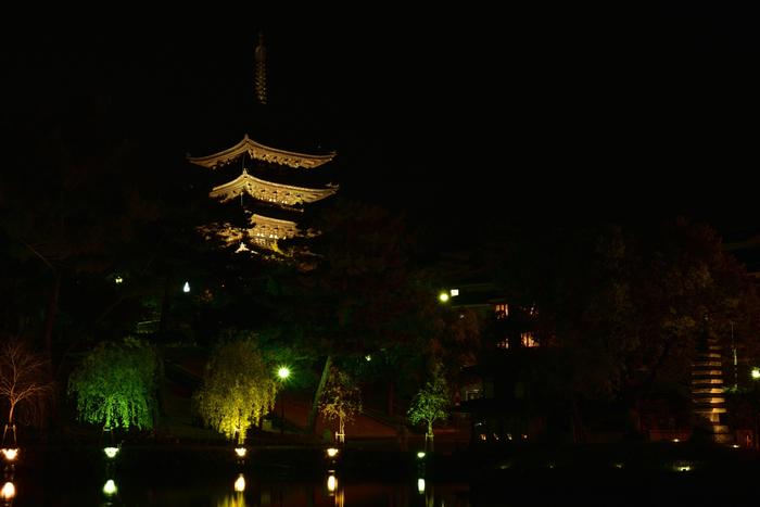 興福寺とその南にある猿沢池は通年ライトアップされています。夜は神秘的な姿が楽しめますよ。