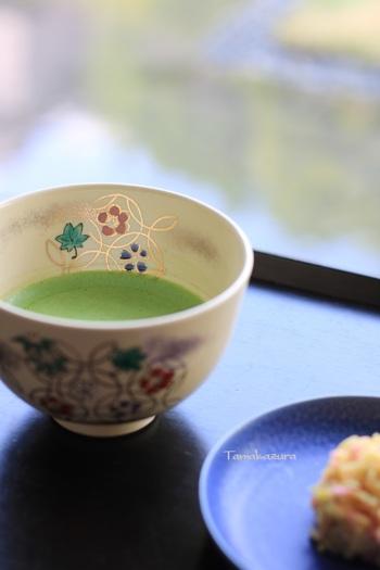 「虎屋」といえば知らない人はないというほど有名な老舗の和菓子屋さんですが、京都生まれのお店であることは意外と知られていないかもしれません。  ここ「虎屋茶寮・京都一条店」は御所のご近所にあるお店ですが、寛永5年(1628年)より前から、この地で営業していたのだそう。