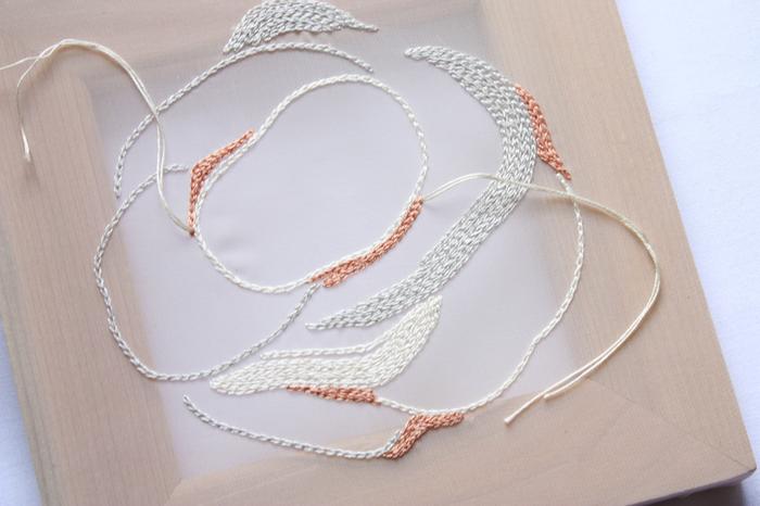 薄く透けている生地に1針1針手刺繍で模様が施されており、表に出ている糸にリングを結びつけます。