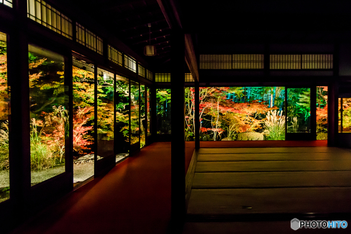 南禅寺の塔頭のひとつでもある「天授庵」。池泉回遊式と枯山水、ふたつのお庭から紅葉を楽しめます。書院の奥に見える紅葉は、芸術的な美しさ。思わず写真に残したくなる絶景です。