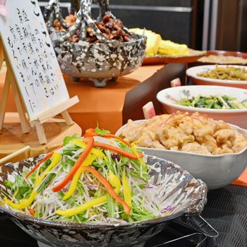 ランチタイムは、定食や丼におばんざいビュッフェが付きます。京都駅直結で、京都ならではのおばんざいが食べ放題なのは嬉しいですね。