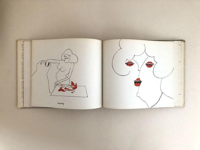 ウンゲラーは、激動の時代であった第ニ次世界大戦の前後にもポスターのイラストレーションなどの作品をつくり続けた作家です。世界を真摯に見つめてきたその生の感覚がストレートに人々につたわり、引きつけ、魅了するのでしょう。  赤が効いた毒のあるシニカルなイラストは、唯一無二の世界観を放っています。
