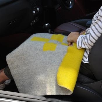 コンパクトなので持ち運びに便利なミニサイズのブランケットは、車の中など外出時に活躍しますよ。