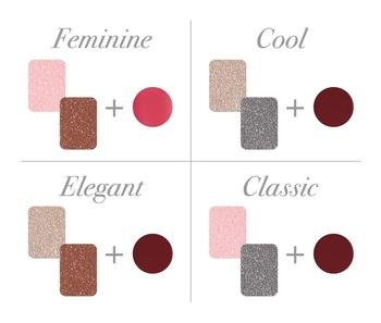 たとえば左上のピンクでアイホールを明るくしてから、目じりにダークローズをひとはけすれば、大人可愛いフェミニンな印象に。清楚な唇を演出する、コーラルピンクのリップと合わせるのがおすすめです。  組み合わせ次第で様々なニュアンスが演出できるこのパレット。ぜひどの組み合わせも試してみて、お気に入りの自分を見つけてください。