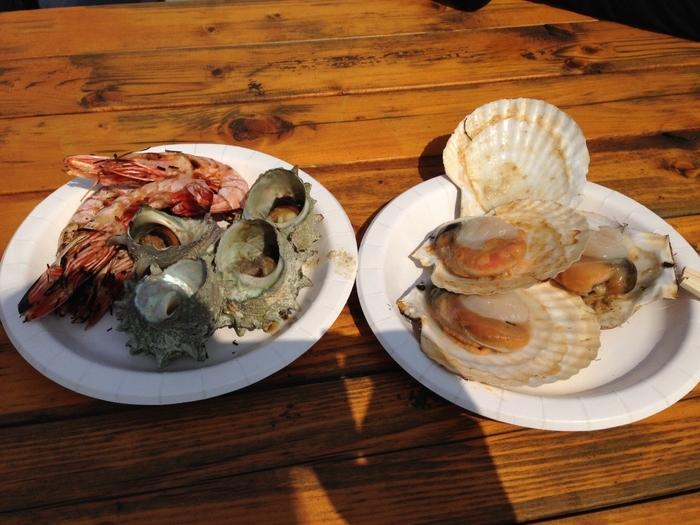 たくさんある屋台では、新鮮な海鮮盛り合わせなども味わえます。「マグロの解体ショー」や、セリを体験できる「大セリ大会」なども人気です。