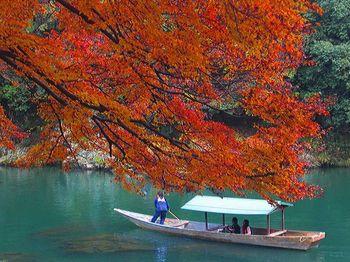 川下りが名物の保津川峡谷。秋の季節になると、さらに情緒が増します。  紅葉と川下りの様子は、江戸時代の絵巻物を見ているよう。水面に映る紅葉も美しく、このような景色をトロッコ列車からも見ることができます。