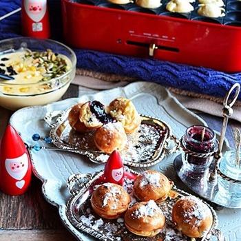 クリスマスの定番お菓子「シュトーレン」をたこ焼きプレートで!一口サイズが新しい♪お好みでジャムをつけてもおいしい。