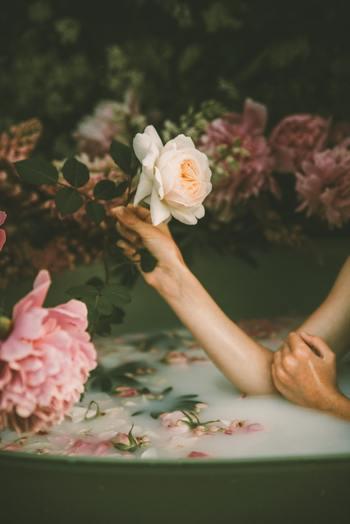 気分を変える、香りを楽しむという意味では、フラワーバスもおすすめです。開いてしまったバラがしおれる前に花首から切ってそのままか、花びらをほぐして浴槽に浮かべるとフラワーペタルとして楽しむ事ができます。前半部分でご紹介した、生クリームや牛乳と組み合わせると見た目もゴージャスになりますね。