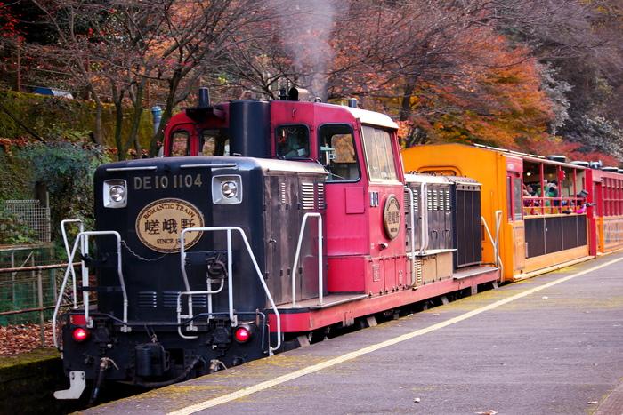 紅葉の名所がたくさんある京都からは、二つの列車を取り上げましょう。  まずご紹介するのは、嵯峨野観光鉄道のトロッコ列車です。 京都を代表する紅葉名所「嵐山」を起点に、「トロッコ嵯峨駅」~「トロッコ亀岡駅」までの約7kmの距離を、保津川峡谷沿いに走ります。  窓ガラスのない車両もあり、自然のすがすがしい空気を満喫しながら、美しい紅葉を間近に鑑賞することができます。