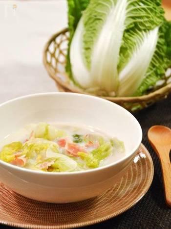 ゆでればゆでるほど甘みが増しとろけて美味しい白菜を豆乳とクリームで煮込んだホッと休まる白菜のシチュー。雑穀を入れてリゾット風にしても◎。