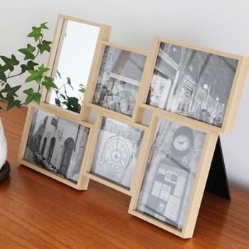 大切な人との思い出の写真を飾れるフォトフレームに、鏡がドッキングしたアイテム。玄関やリビングなど、写真と一緒にミラーを置いておけば、ふとした時のフェイスチェックにも役立ってくれそうですね。