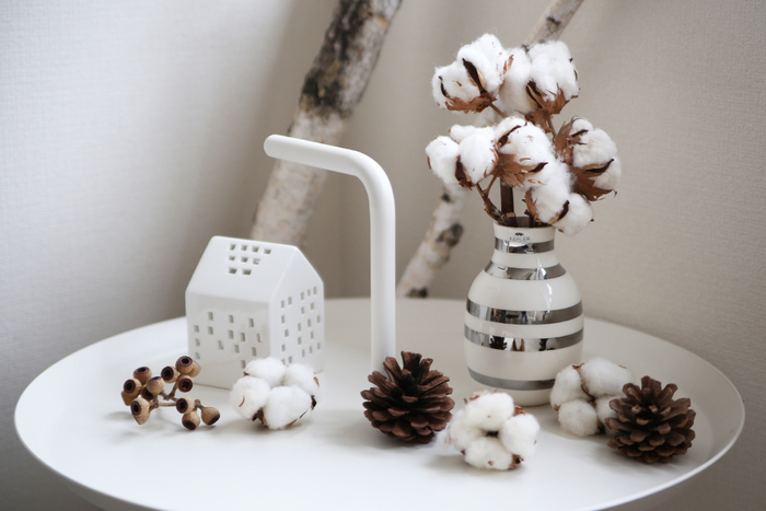 コットンフラワーとインテリア雑貨を組み合わせると、花器とはまた一味違ったおしゃれな雰囲気を演出できますよ◎。こんなふうに白一色でまとめると、清潔感あふれる上品なディスプレイに。インテリア雑貨はもちろん、木の実や松ぼっくりなど、様々なアイテムとの組み合わせを楽しんでみませんか?