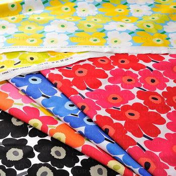 こちらは、北欧の人気ブランド「マリメッコ(marimekko)」の布地。同じ花柄でも、小柄・中柄・大柄の3種があり、作るものによって選べます。