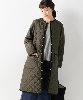コレクションの中でもキルティングジャケットはベストセラーアイテム。キルティングがふっくらとかわいらしく、防寒性もとっても高いんです。