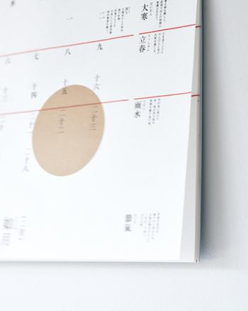 カレンダーの中の金色の丸は太陽の高さの移り変わりを描いているのだとか。季節(時間)の流れを大切にしたい方に、ぜひ楽しんでもらいたいカレンダーです。