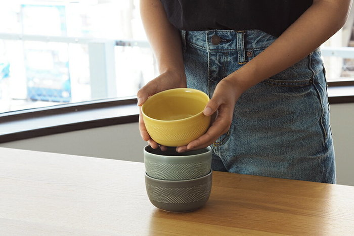 ほんのり洋風なデザインのボウルは、トマト鍋やカレー鍋等の時に使いたくなる。色違いもあるから、お皿の取り間違いも防げそうです。