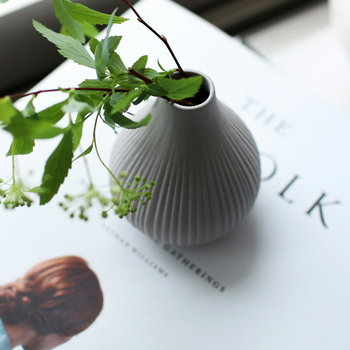 スウェーデンの港町の名前、EKENAS(エケナス)と名付けられた花瓶は波模様の縦のラインがすらりと美しいですね。グリーンがよく似合います。  ■1,944円(税込)
