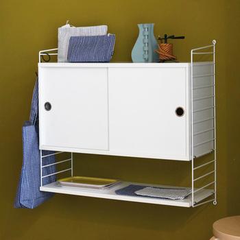 キッチンや洗面所で、チェストの付いた壁付ラックは大活躍してくれそう。あなたはどこに取り付けたいですか?