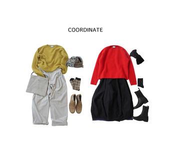 半端丈のパンツやスカートなどと足元の組み合わせを考えるのも楽しいですよね。