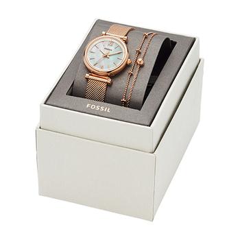 ギフトシーズンに向けて、腕時計とブレスレットのボックスセットも登場。ローズゴールドと、文字盤のパールがエレガントな『CARLIE MINI(カーリー ミニ)』とお揃いのアクセサリーは、それぞれ単品で使っても、セットで使っても気分が上がります。街が華やぐシーズンに、自分へのご褒美としていかがですか?