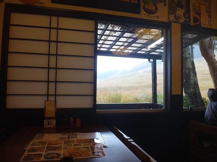 仙石原ススキ野原のすぐ脇に店を構える「そば処 よもぎ屋」は、地元の湧水を用いる仙石原の人気店です。 【ススキ野原が広がる景色が楽しめる「よもぎ屋」店内】