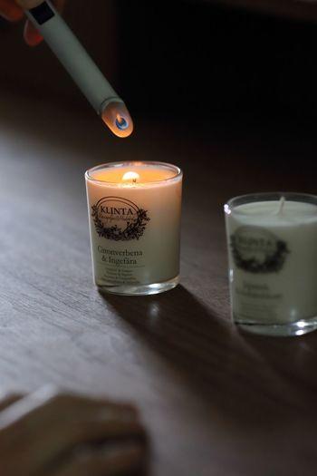 北欧ブランドKLINTA(クリンタ)のキャンドルは、オーガニック由来の良質な菜種油やビタミンEたっぷりのソイワックスから作られたキャンドルで、マッサージに使えます。