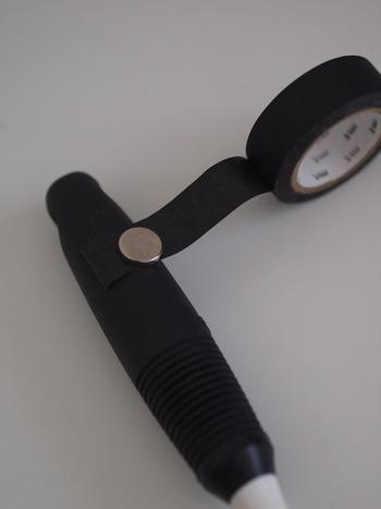 こちらも、磁石用プレート同様、色の合ったマステを巻き付ければ、マグネットが目立ちません。