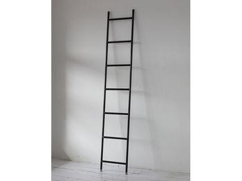スチール製のラダーはスタイリッシュな印象があります。縦長にまっすぐと立つ姿でお部屋の空間をスッキリと見せてくれます。