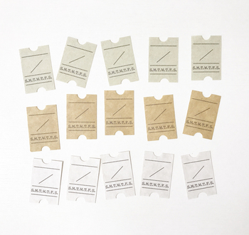 書き込み式の「日付シート」は、さりげなく手帳やノートのアクセントになります。チケット風のデザインがおしゃれですね。