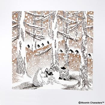 おはなしのワンシーンより、雪の森の中でムーミンたちが「ゆきだまの灯」を囲んでいるところが描かれています。フィンランドの厳しい冬と、生き物のぬくもりが感じられる名場面です。