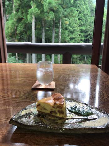 ベイクドとレアチーズの魅力を両方味わえる、その名も「フワとろっな贅沢チーズケーキ」。予約しないと食べられない一品で、洋酒漬けのドライフルーツとナッツがたっぷり入った大人味わいです。